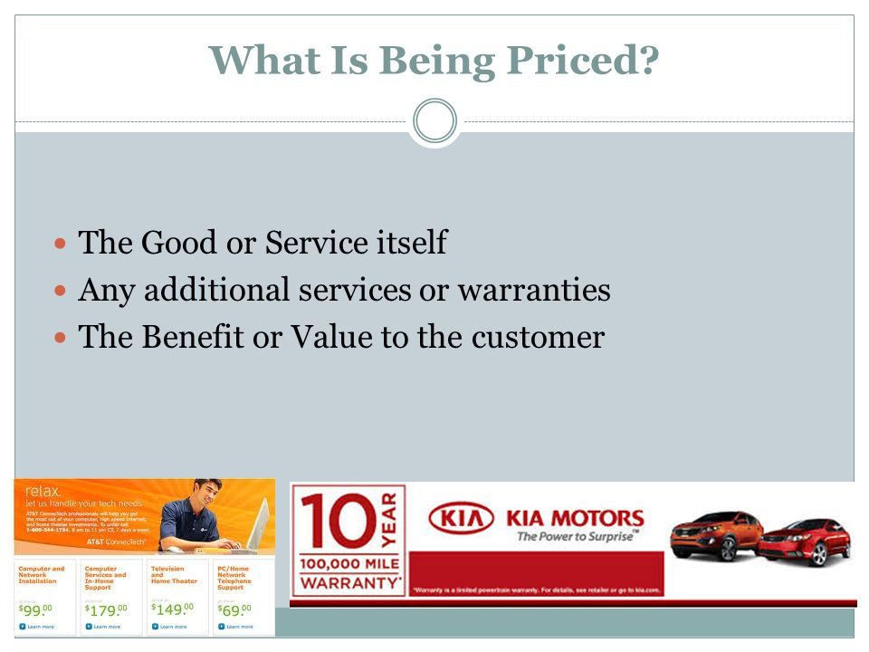 What Is Being Priced The Good or Service itself