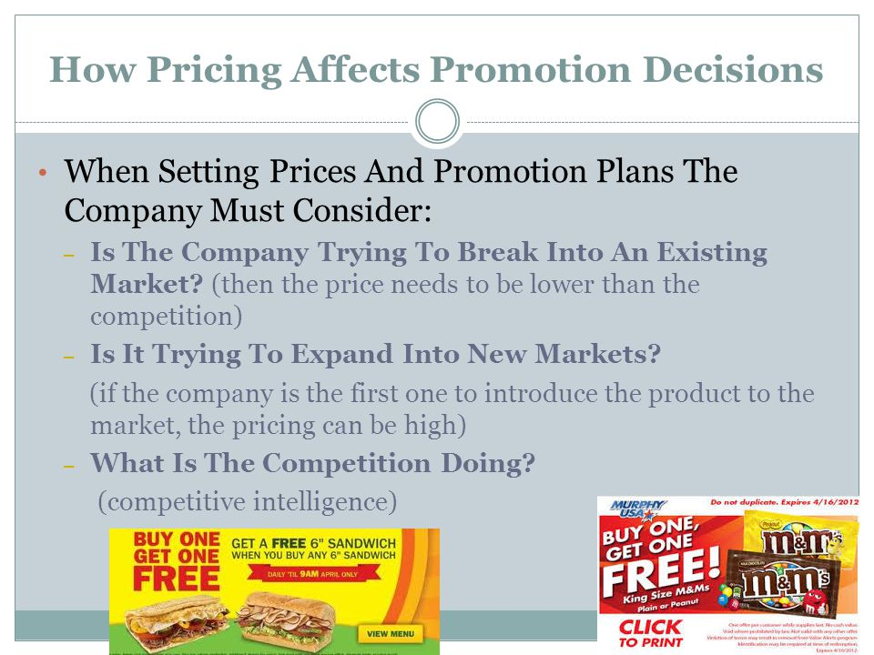 How Pricing Affects Promotion Decisions