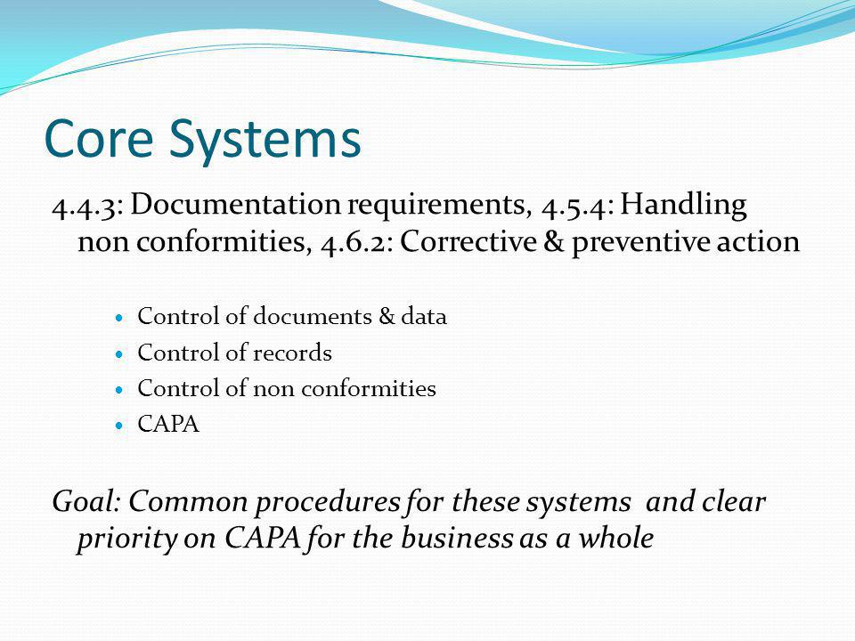 Core Systems 4.4.3: Documentation requirements, 4.5.4: Handling non conformities, 4.6.2: Corrective & preventive action.