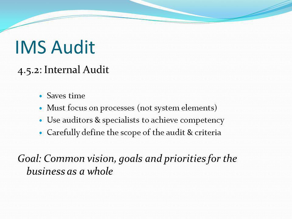 IMS Audit 4.5.2: Internal Audit