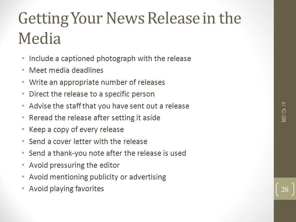 Getting Your News Release in the Media