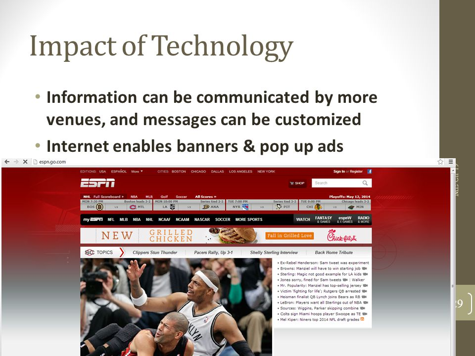 Impact of Technology Information can be communicated by more venues, and messages can be customized.