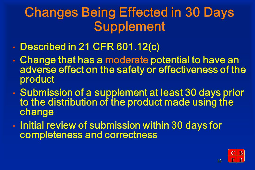 Changes Being Effected in 30 Days Supplement