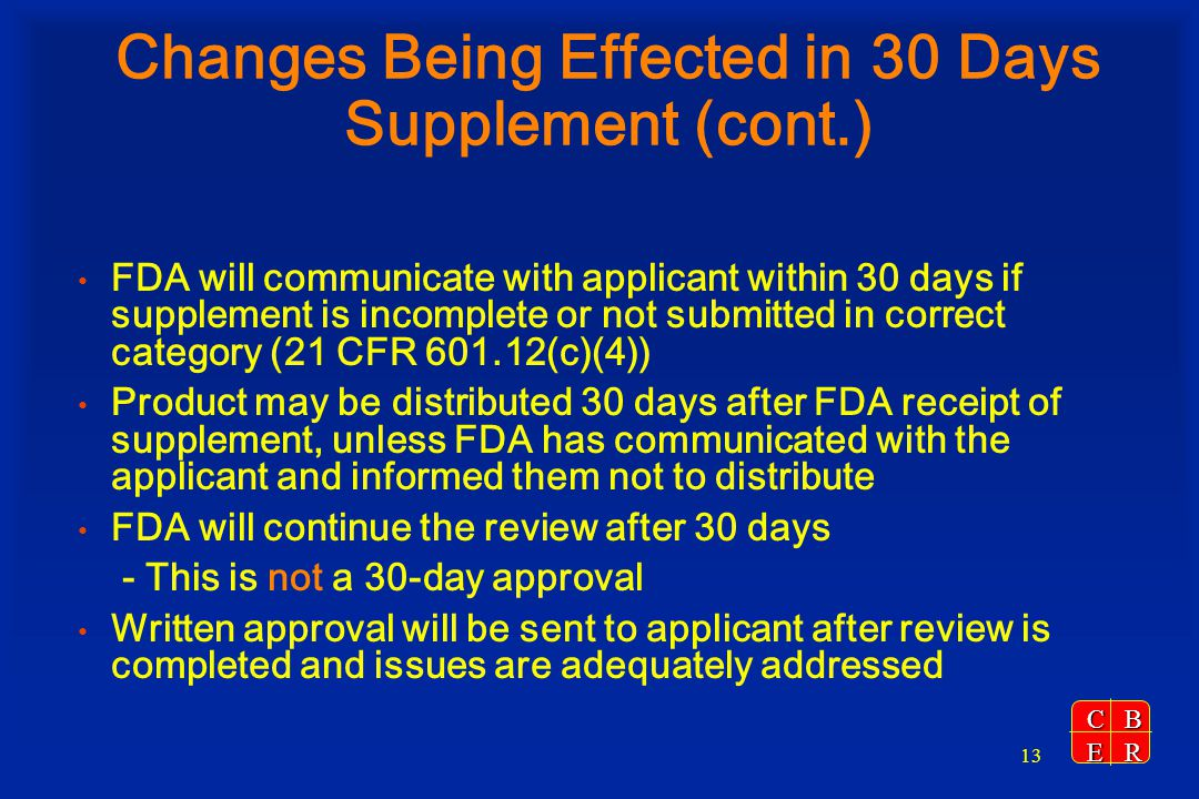 Changes Being Effected in 30 Days Supplement (cont.)