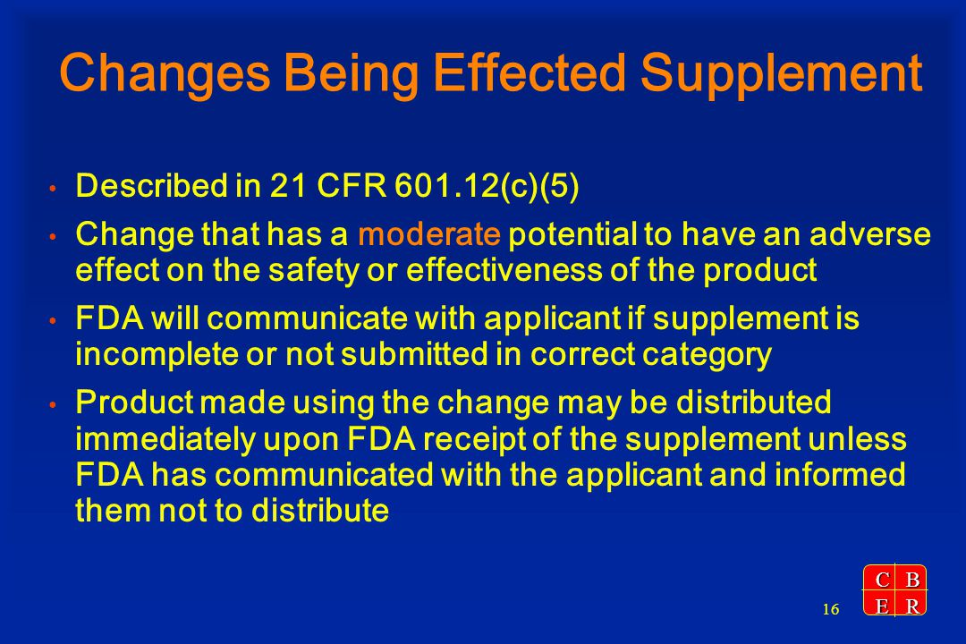 Changes Being Effected Supplement