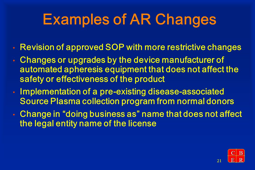 Examples of AR Changes Revision of approved SOP with more restrictive changes.