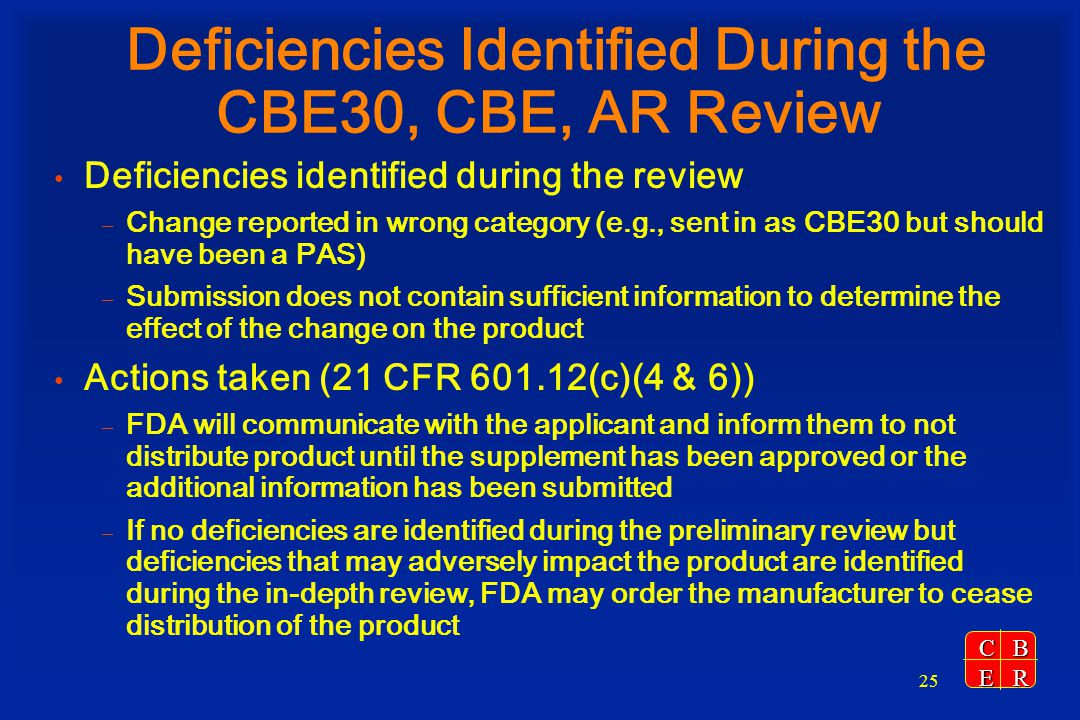 Deficiencies Identified During the CBE30, CBE, AR Review