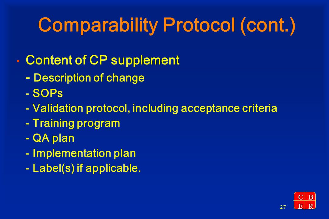 Comparability Protocol (cont.)