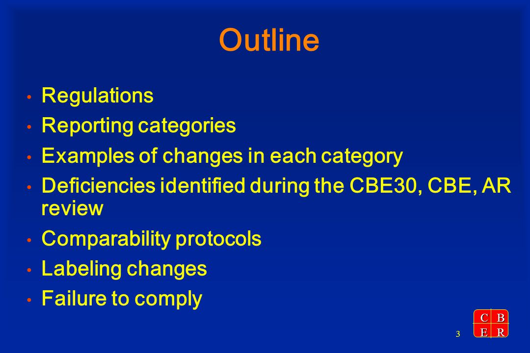 Outline Regulations Reporting categories