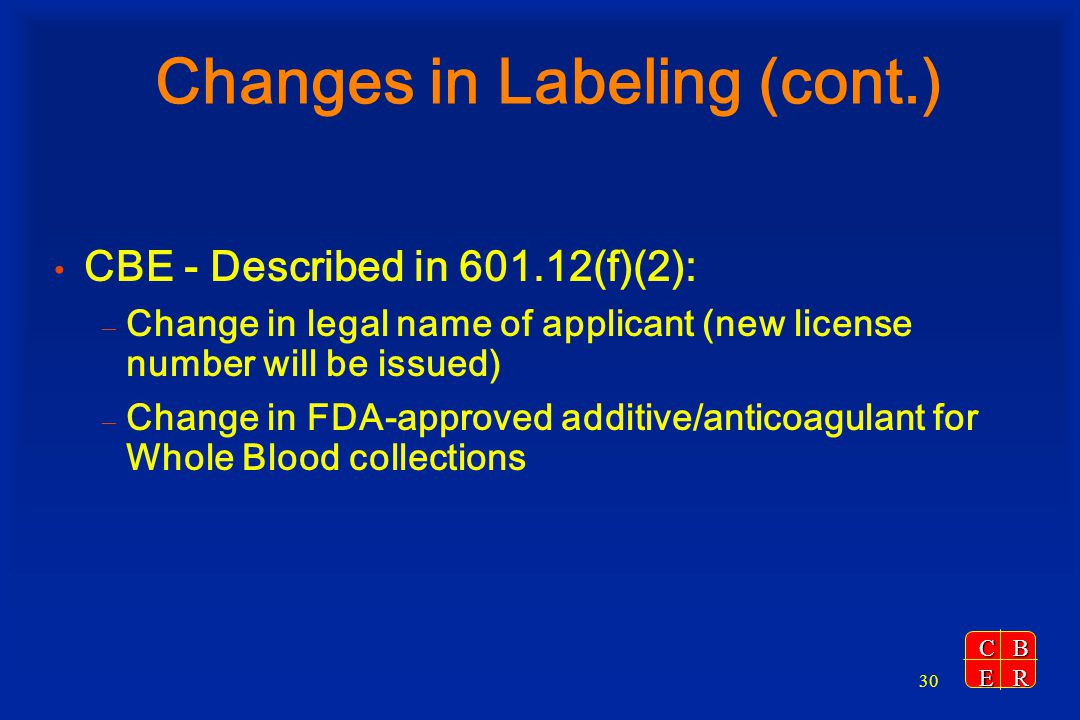 Changes in Labeling (cont.)