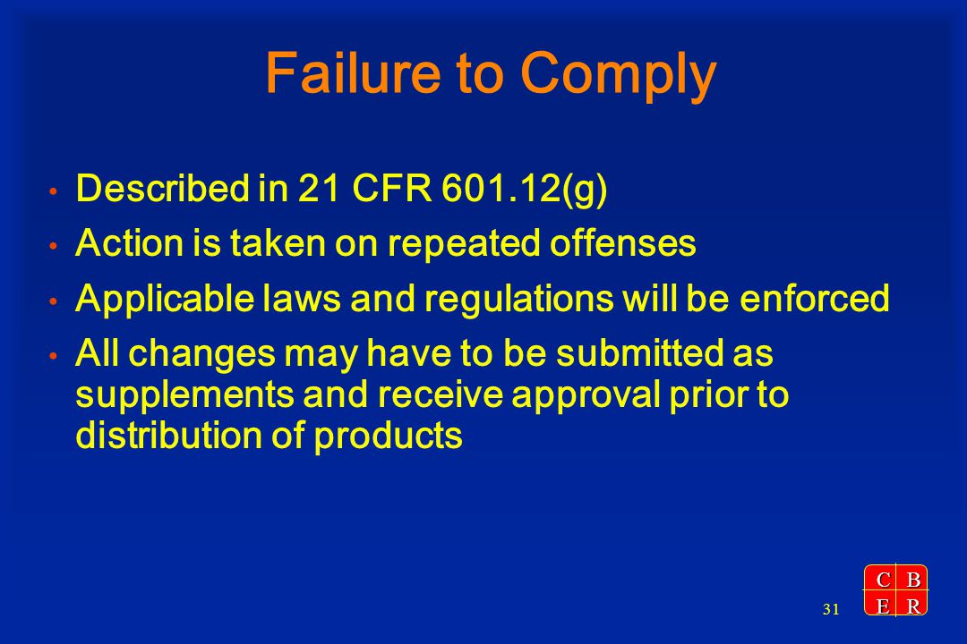 Failure to Comply Described in 21 CFR 601.12(g)