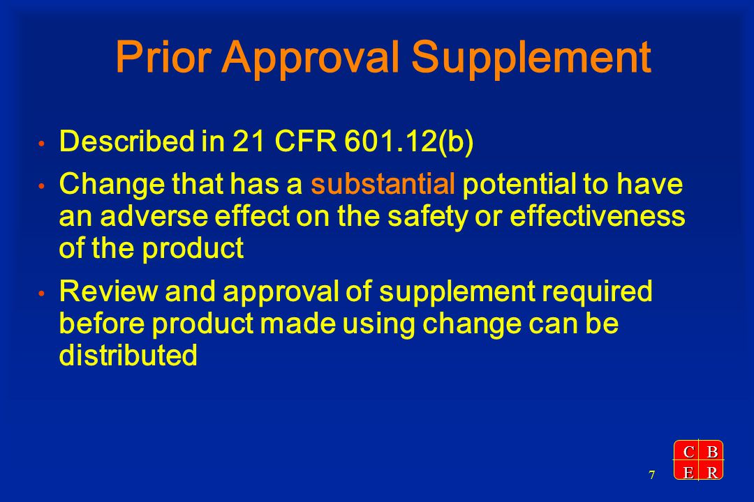 Prior Approval Supplement