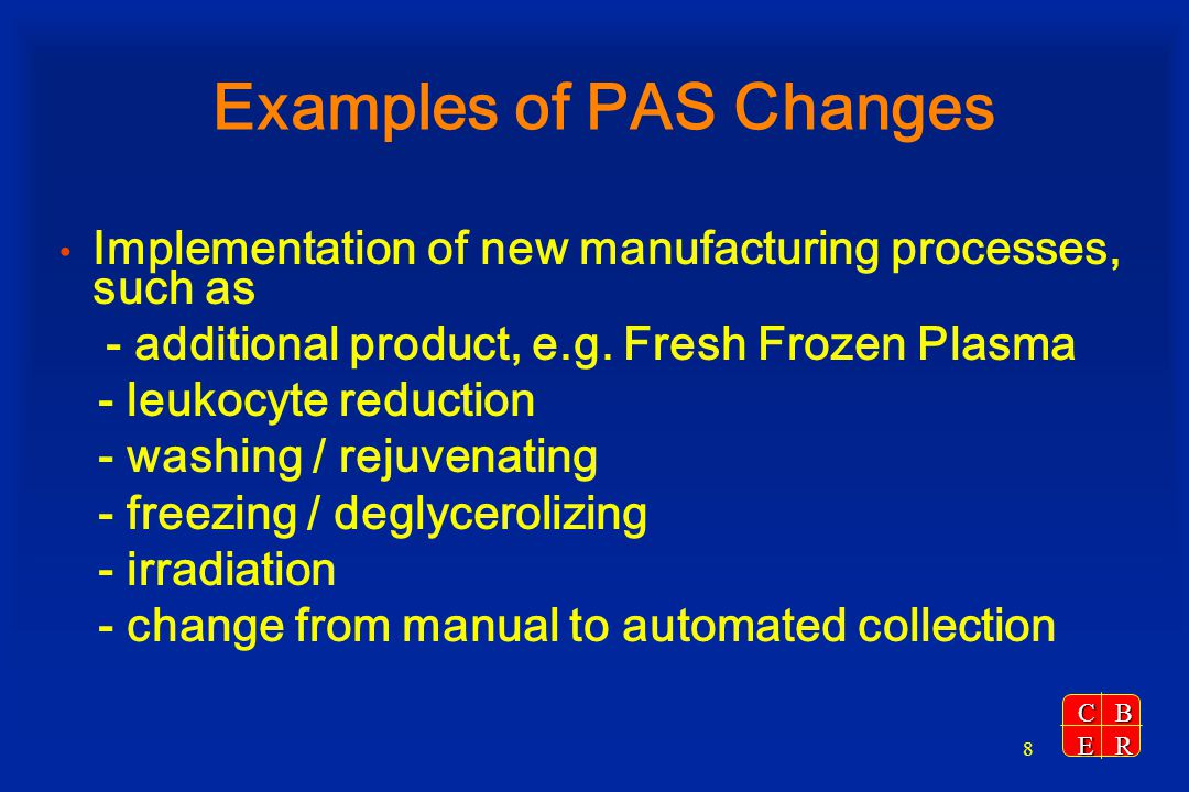 Examples of PAS Changes