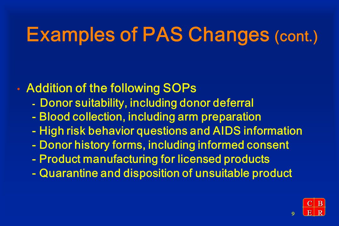 Examples of PAS Changes (cont.)