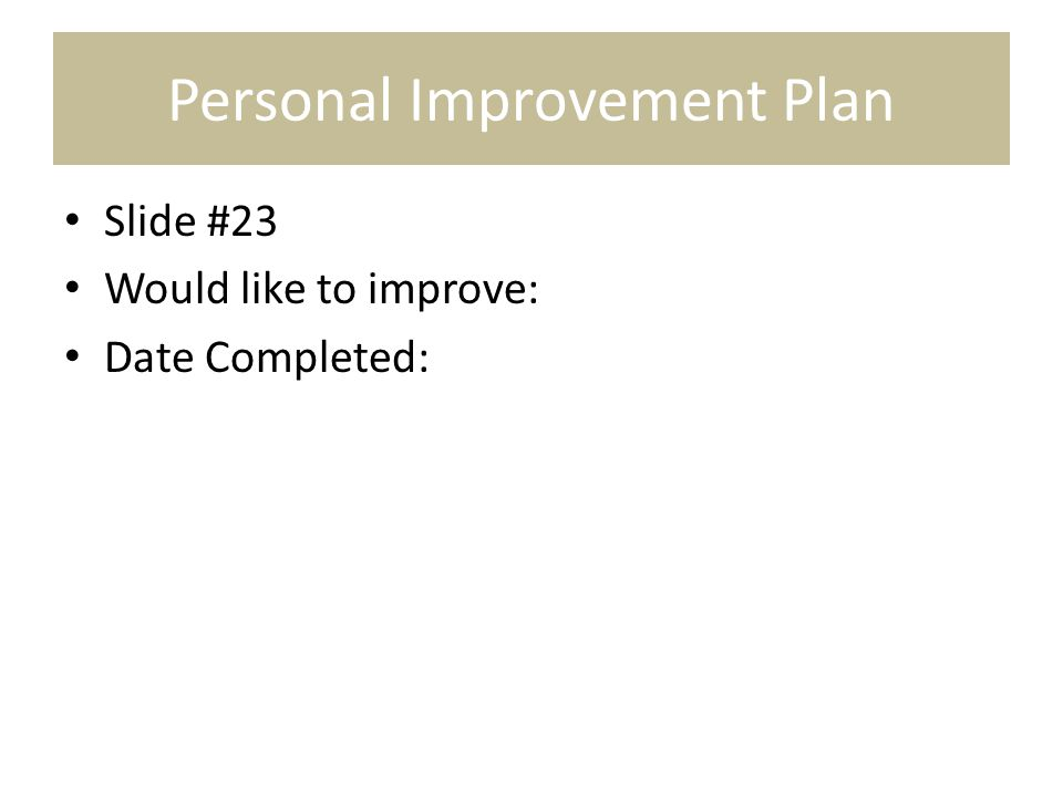 Personal Improvement Plan