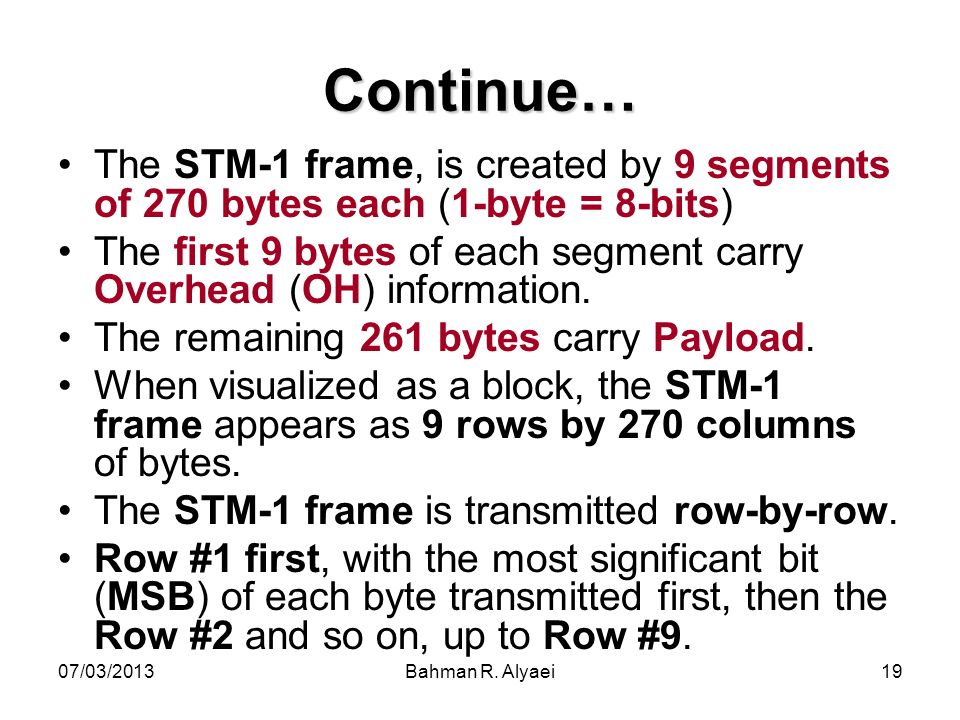 Continue… The STM-1 frame, is created by 9 segments of 270 bytes each (1-byte = 8-bits)