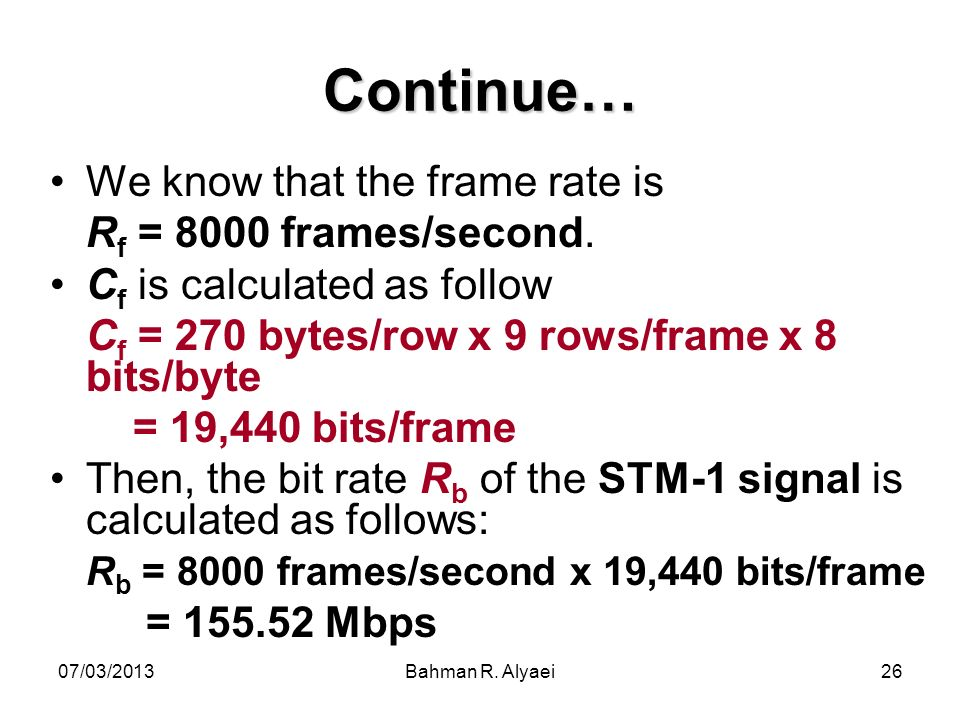 Continue… We know that the frame rate is Rf = 8000 frames/second.