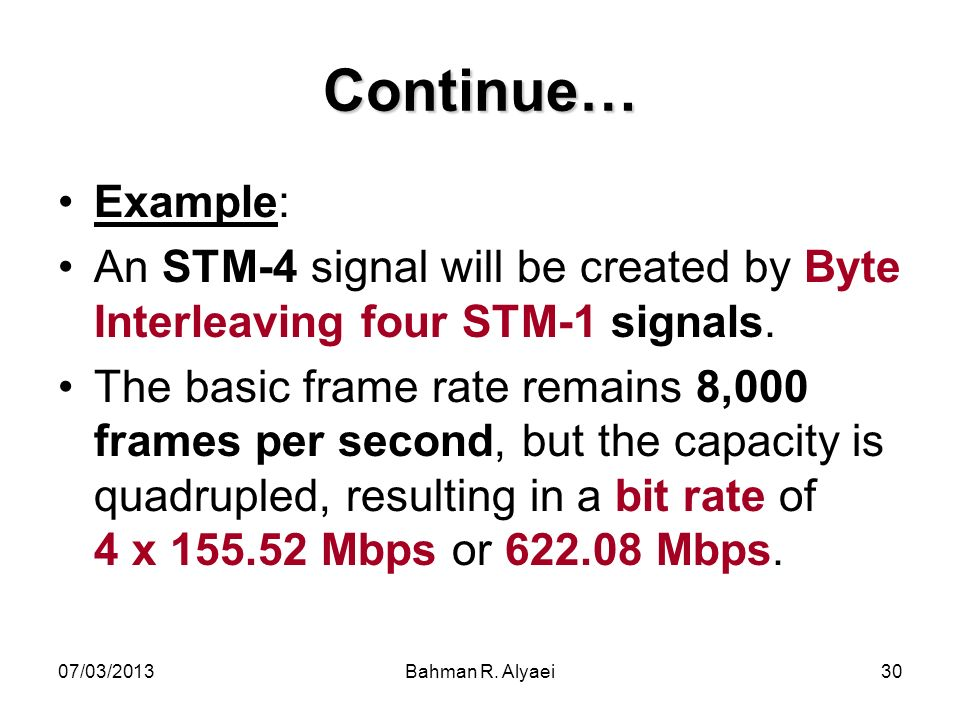 Continue… Example: An STM-4 signal will be created by Byte Interleaving four STM-1 signals.