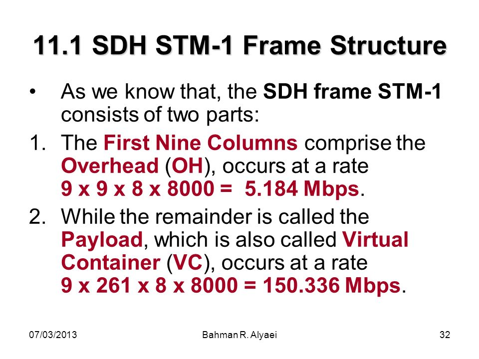 11.1 SDH STM-1 Frame Structure