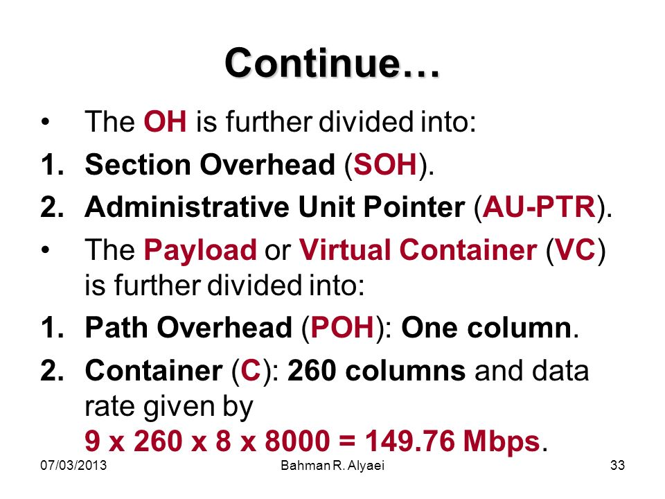 Continue… The OH is further divided into: Section Overhead (SOH).