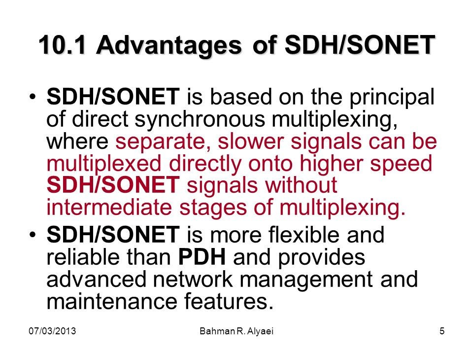 10.1 Advantages of SDH/SONET