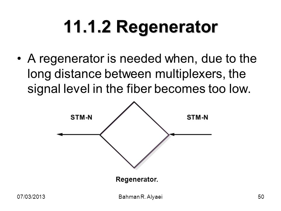 Regenerator A regenerator is needed when, due to the long distance between multiplexers, the signal level in the fiber becomes too low.