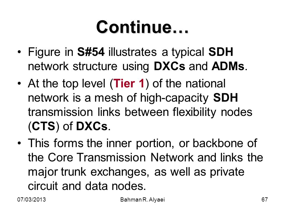 Continue… Figure in S#54 illustrates a typical SDH network structure using DXCs and ADMs.