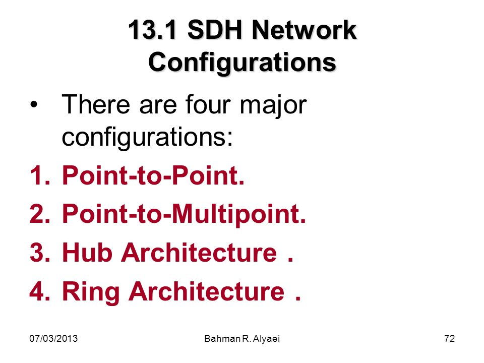 13.1 SDH Network Configurations