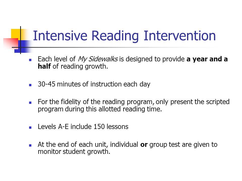 Intensive Reading Intervention