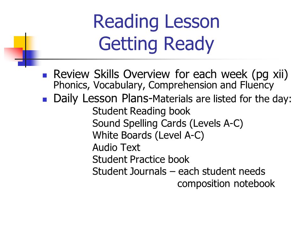 Reading Lesson Getting Ready