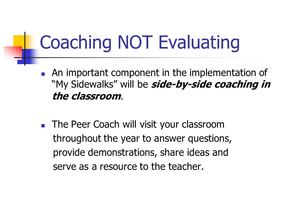 Coaching NOT Evaluating