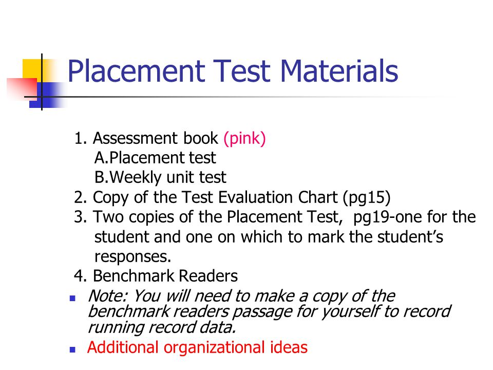 Placement Test Materials