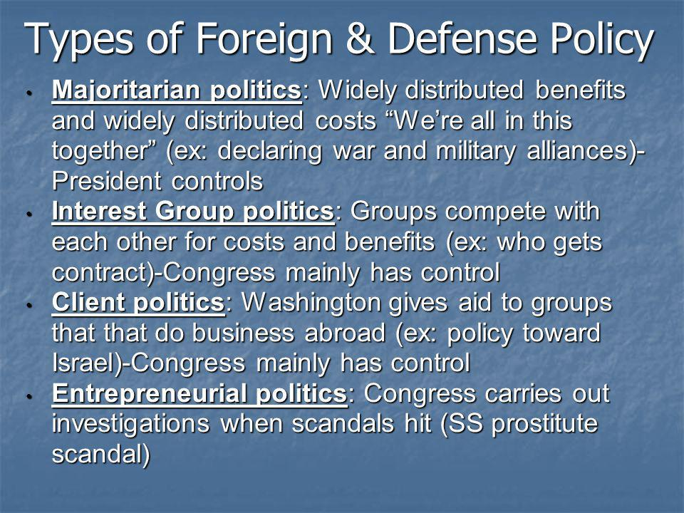 Types of Foreign & Defense Policy