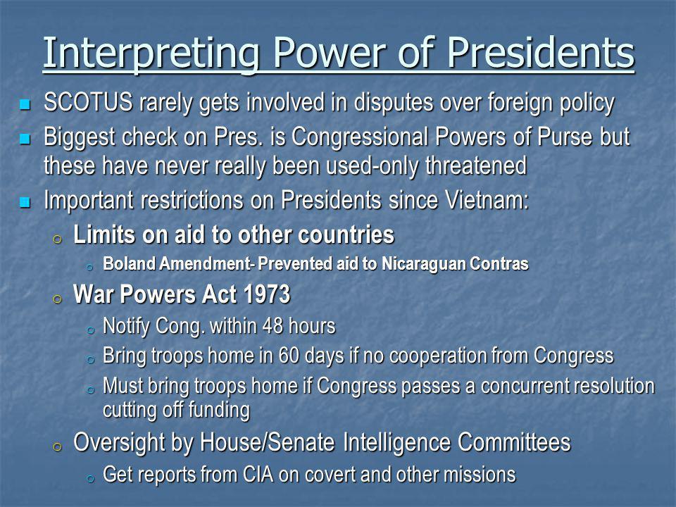 Interpreting Power of Presidents