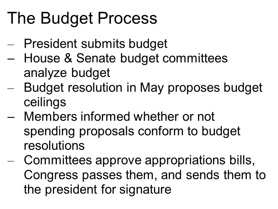 The Budget Process President submits budget