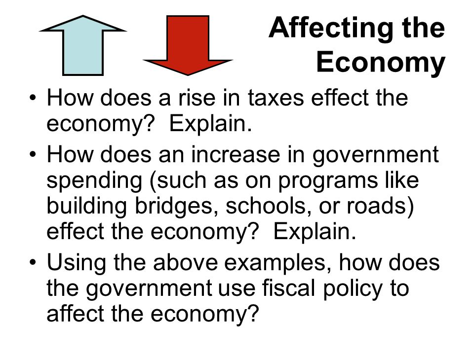 Affecting the Economy How does a rise in taxes effect the economy Explain.