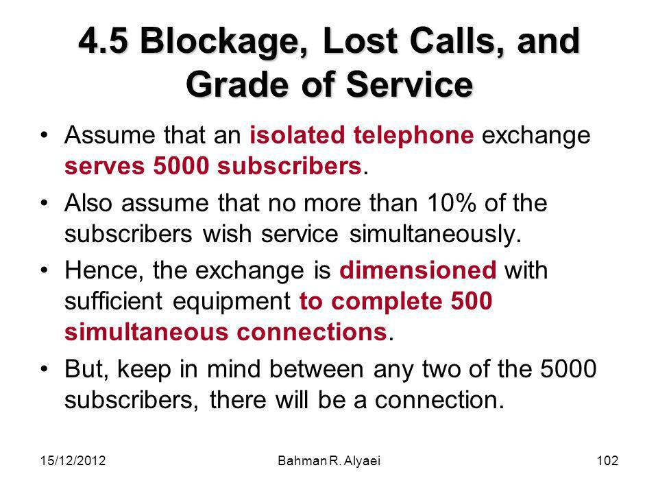 4.5 Blockage, Lost Calls, and Grade of Service