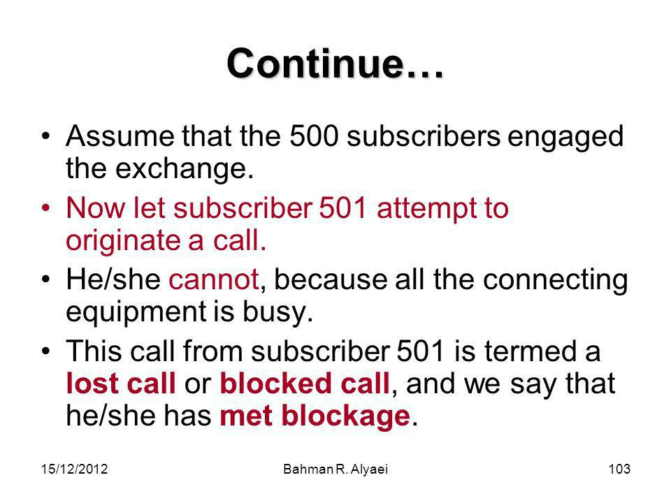 Continue… Assume that the 500 subscribers engaged the exchange.