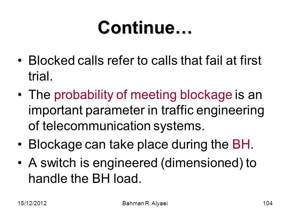 Continue… Blocked calls refer to calls that fail at first trial.