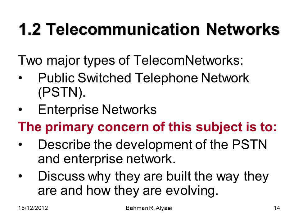 1.2 Telecommunication Networks