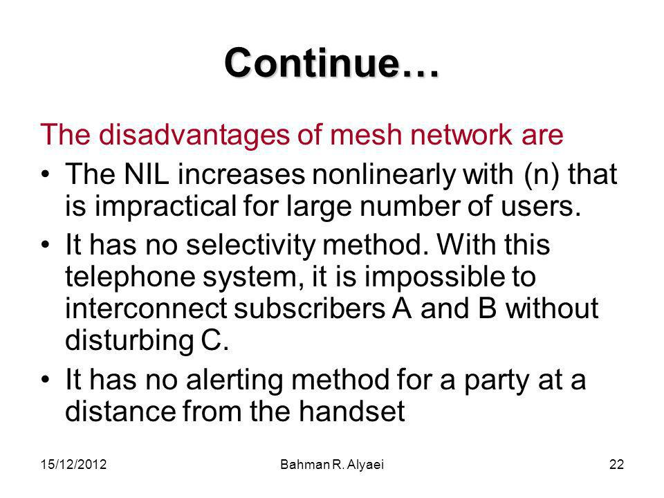 Continue… The disadvantages of mesh network are