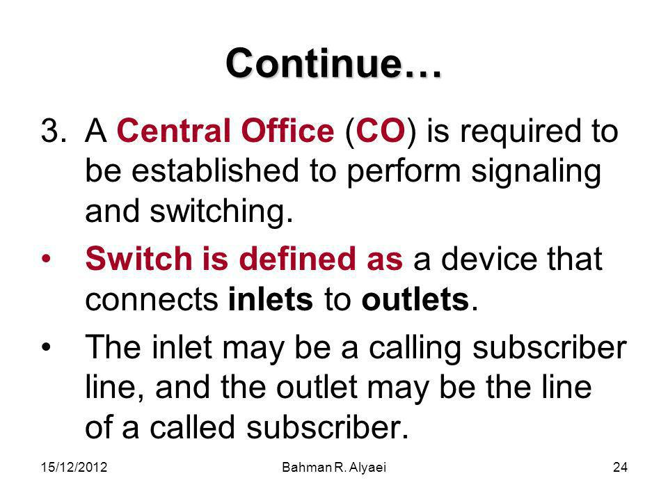 Continue… A Central Office (CO) is required to be established to perform signaling and switching.
