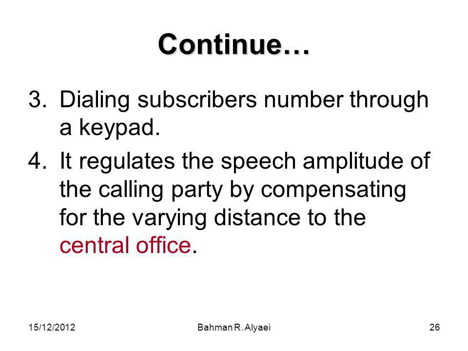 Continue… Dialing subscribers number through a keypad.