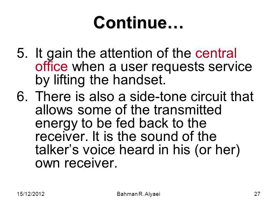 Continue… It gain the attention of the central office when a user requests service by lifting the handset.