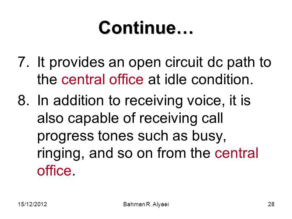 Continue… It provides an open circuit dc path to the central office at idle condition.
