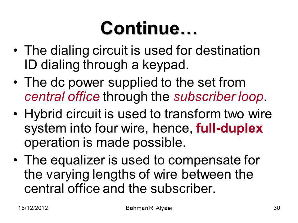 Continue… The dialing circuit is used for destination ID dialing through a keypad.