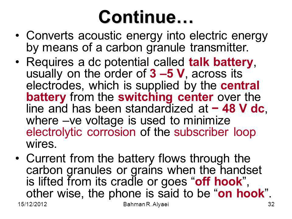 Continue… Converts acoustic energy into electric energy by means of a carbon granule transmitter.