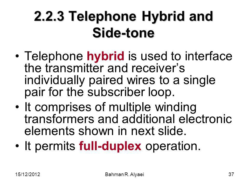 2.2.3 Telephone Hybrid and Side-tone