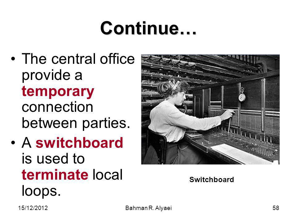 Continue… The central office provide a temporary connection between parties. A switchboard is used to terminate local loops.