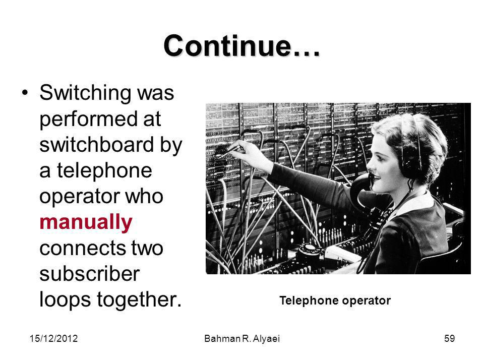Continue… Switching was performed at switchboard by a telephone operator who manually connects two subscriber loops together.
